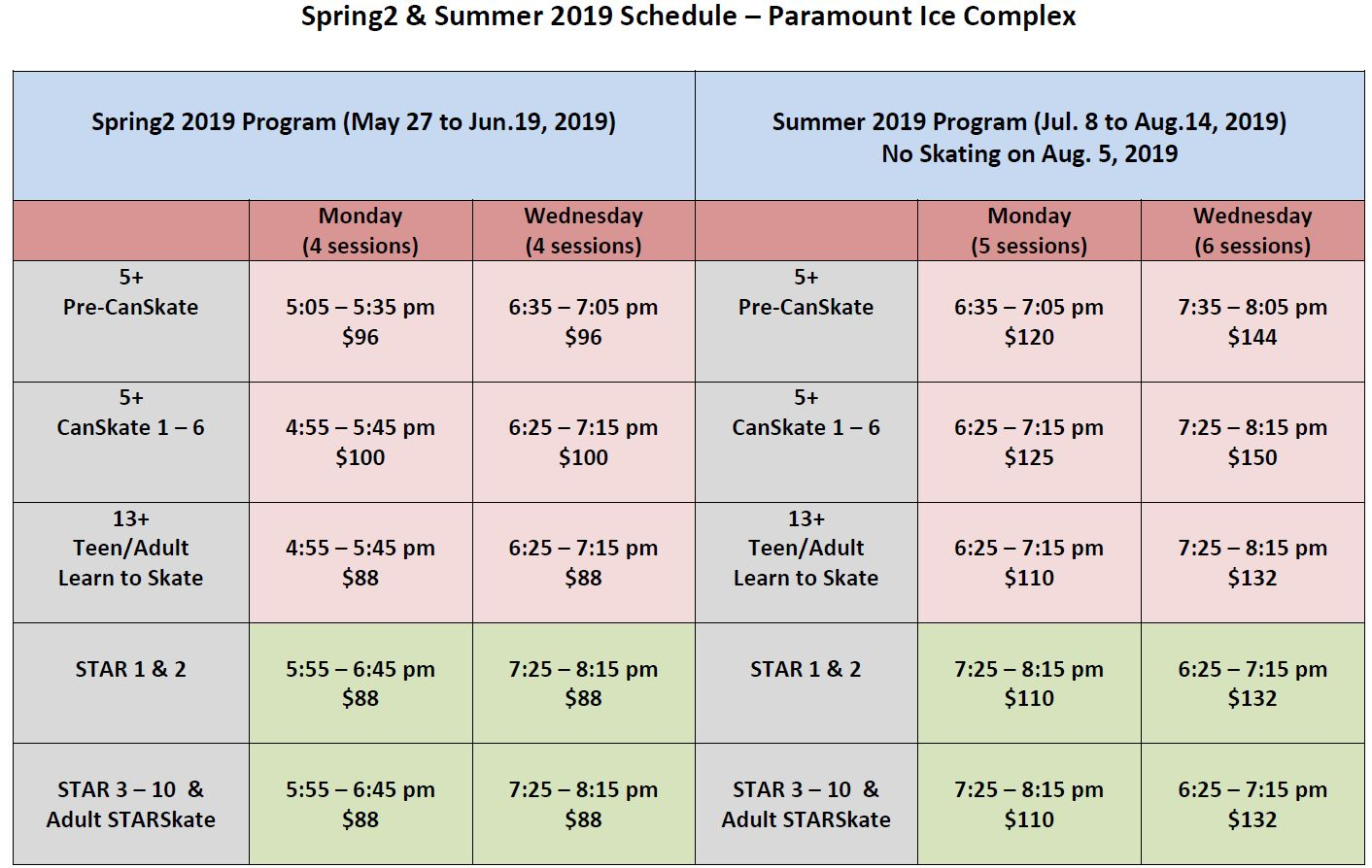 Spring2-Summer Program and Fee Schedule